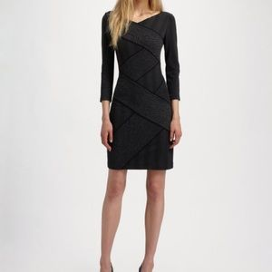 BCBGMAXAZRIA Women's Black Britta Jacquard Dress